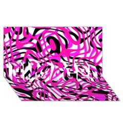 Ribbon Chaos Pink Engaged 3d Greeting Card (8x4)
