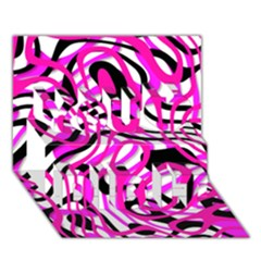 Ribbon Chaos Pink You Did It 3d Greeting Card (7x5)