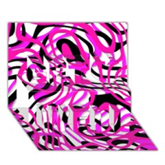 Ribbon Chaos Pink Get Well 3d Greeting Card (7x5)