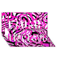Ribbon Chaos Pink Laugh Live Love 3d Greeting Card (8x4)