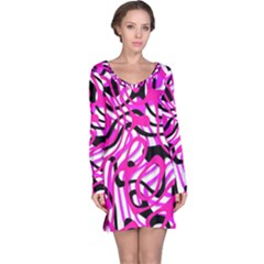 Ribbon Chaos Pink Long Sleeve Nightdresses