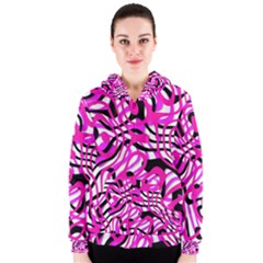 Ribbon Chaos Pink Women s Zipper Hoodies