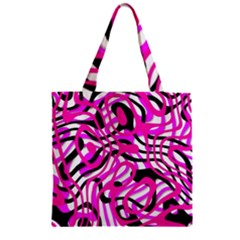 Ribbon Chaos Pink Zipper Grocery Tote Bags