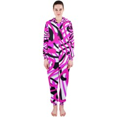 Ribbon Chaos Pink Hooded Jumpsuit (Ladies)