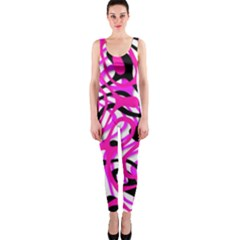 Ribbon Chaos Pink Onepiece Catsuits