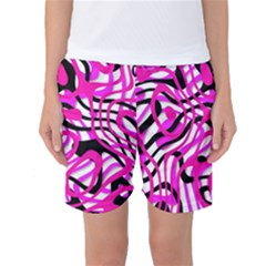 Ribbon Chaos Pink Women s Basketball Shorts