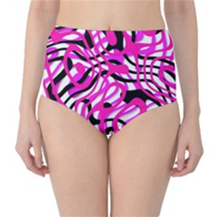 Ribbon Chaos Pink High-Waist Bikini Bottoms