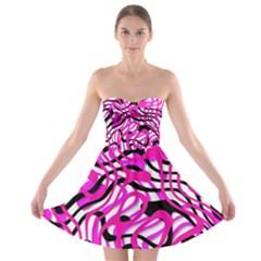 Ribbon Chaos Pink Strapless Bra Top Dress