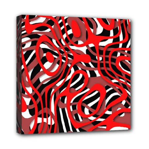 Ribbon Chaos Red Mini Canvas 8  X 8