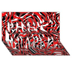 Ribbon Chaos Red Happy Birthday 3D Greeting Card (8x4)