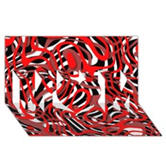 Ribbon Chaos Red MOM 3D Greeting Card (8x4)