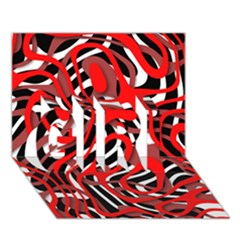 Ribbon Chaos Red GIRL 3D Greeting Card (7x5)