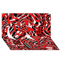 Ribbon Chaos Red Twin Hearts 3D Greeting Card (8x4)