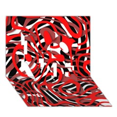 Ribbon Chaos Red Love 3d Greeting Card (7x5)