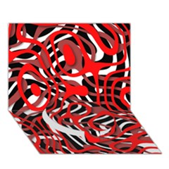 Ribbon Chaos Red Circle Bottom 3d Greeting Card (7x5)