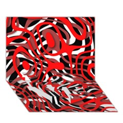 Ribbon Chaos Red LOVE Bottom 3D Greeting Card (7x5)