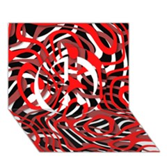 Ribbon Chaos Red Peace Sign 3D Greeting Card (7x5)