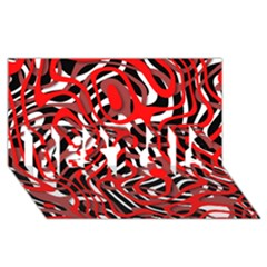 Ribbon Chaos Red Best Sis 3d Greeting Card (8x4)