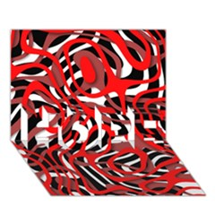 Ribbon Chaos Red Hope 3d Greeting Card (7x5)