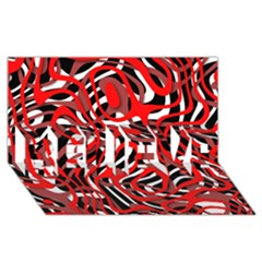 Ribbon Chaos Red BELIEVE 3D Greeting Card (8x4)