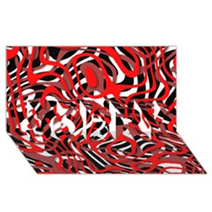 Ribbon Chaos Red SORRY 3D Greeting Card (8x4)