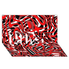 Ribbon Chaos Red Hugs 3d Greeting Card (8x4)