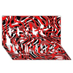 Ribbon Chaos Red Best Wish 3D Greeting Card (8x4)