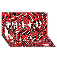 Ribbon Chaos Red Merry Xmas 3D Greeting Card (8x4)