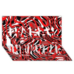 Ribbon Chaos Red Happy New Year 3D Greeting Card (8x4)