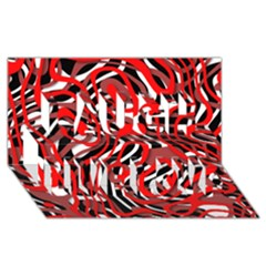 Ribbon Chaos Red Laugh Live Love 3d Greeting Card (8x4)