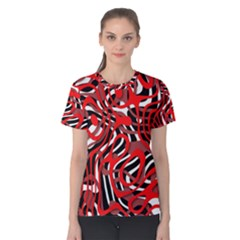 Ribbon Chaos Red Women s Cotton Tees