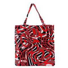 Ribbon Chaos Red Grocery Tote Bags