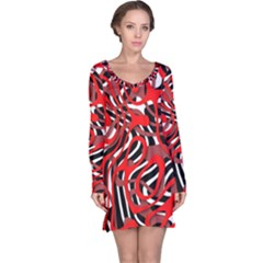 Ribbon Chaos Red Long Sleeve Nightdresses