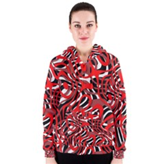 Ribbon Chaos Red Women s Zipper Hoodies