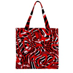 Ribbon Chaos Red Zipper Grocery Tote Bags