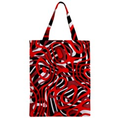 Ribbon Chaos Red Zipper Classic Tote Bags