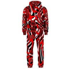 Ribbon Chaos Red Hooded Jumpsuit (men)