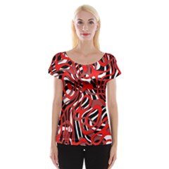 Ribbon Chaos Red Women s Cap Sleeve Top