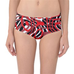 Ribbon Chaos Red Mid-Waist Bikini Bottoms