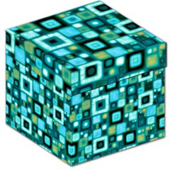 Teal Squares Storage Stool 12
