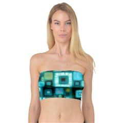 Teal Squares Women s Bandeau Tops