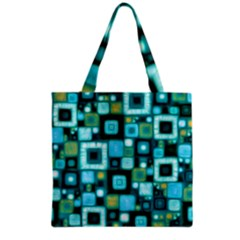 Teal Squares Grocery Tote Bags