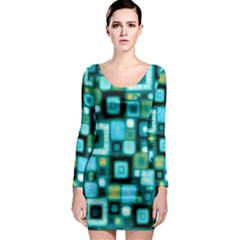 Teal Squares Long Sleeve Bodycon Dresses