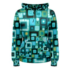 Teal Squares Women s Pullover Hoodies