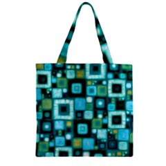 Teal Squares Zipper Grocery Tote Bags
