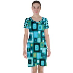 Teal Squares Short Sleeve Nightdresses