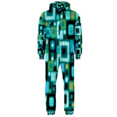 Teal Squares Hooded Jumpsuit (Men)