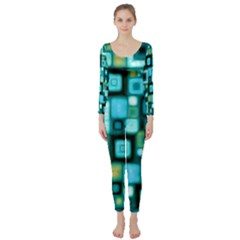 Teal Squares Long Sleeve Catsuit