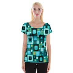 Teal Squares Women s Cap Sleeve Top
