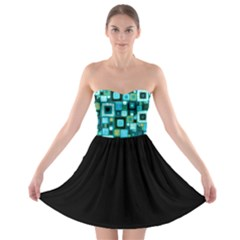 Teal Squares Strapless Bra Top Dress